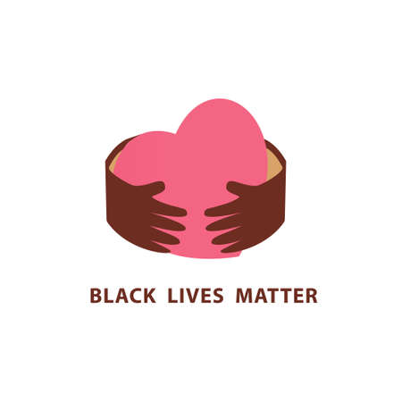 Black lives matter . Concept on the theme of racism. Stop racism. The image of protesting people, equality. Vector stock illustration. Isolated on a white background. Flat style.