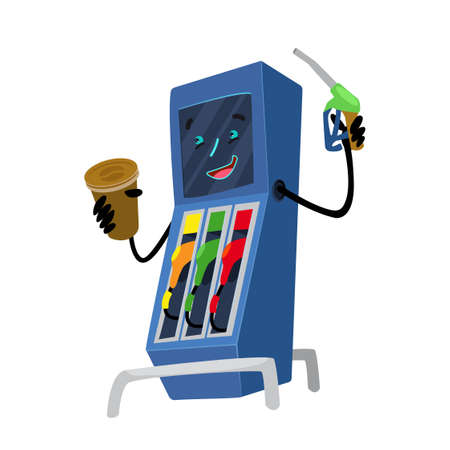 Gas station illustration. Refueling with gasoline fuel. Gas station character on a white background. Oil station