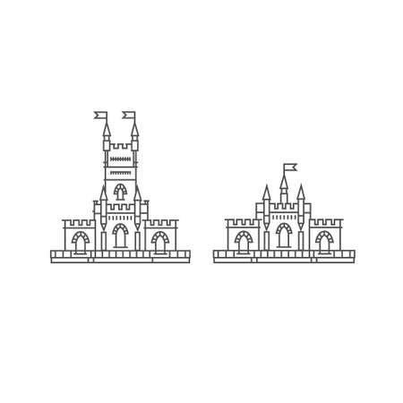 Fortress set on a white background. Fortress outline illustration. Historical fortress with flag vector
