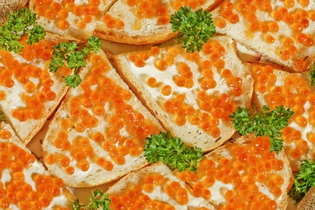 sandwiches with butter and red caviar with parsley photo
