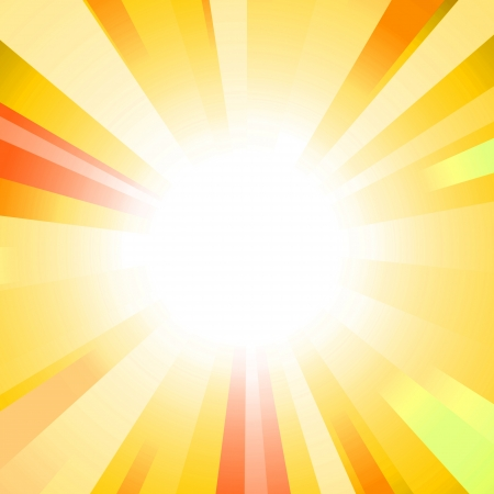 sun on a  yellow background with multicolored beams photo