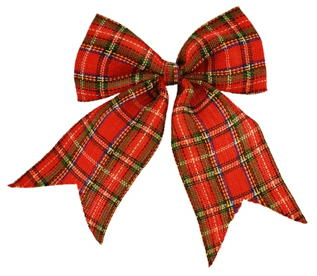 red bow out of the Scottish material, isolated on white photo