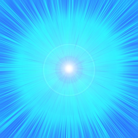 the energy center:   bright blue glow from the center of a square background Stock Photo