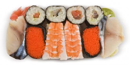 Assorted Japanese sushi, isolated on white Stock Photo - 16320502