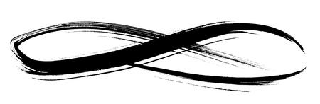 signo infinito: negro dibujos planos del grunge con la mano en forma de un bucle, aislado en blanco