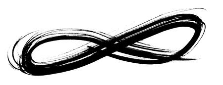 simbolo infinito: negro dibujos planos del grunge con la mano en forma de un bucle, aislado en blanco