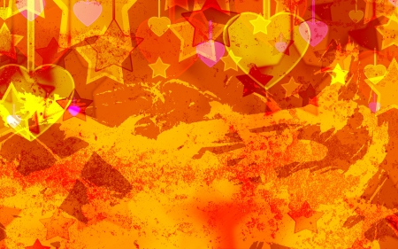 abstract hearts and stars on the grunge background photo