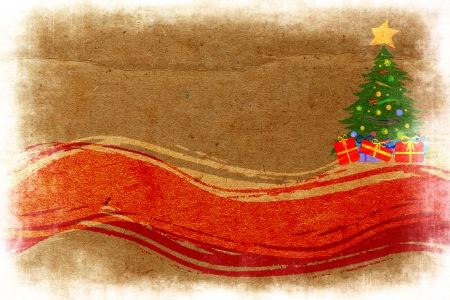 merrily: New Year abstract  grunge background with spruce and winding lines