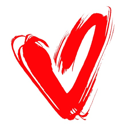 red heart, drawn by hand, isolated on white  photo