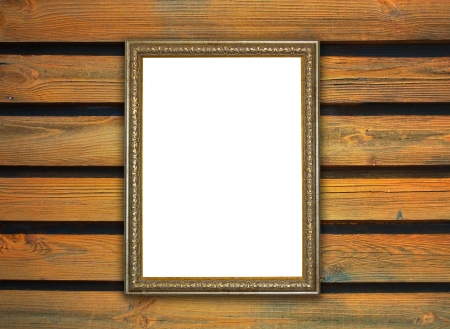 frame, the painting on a wooden background photo