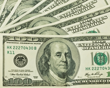 financially:   background of one hundred dollars, closeup Stock Photo