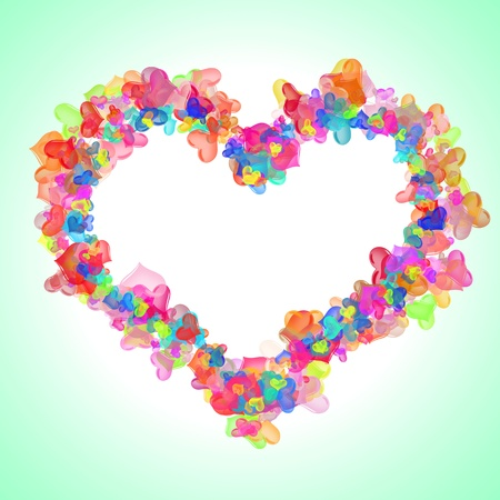 frame in the shape of the heart of the little hearts on a light background  photo