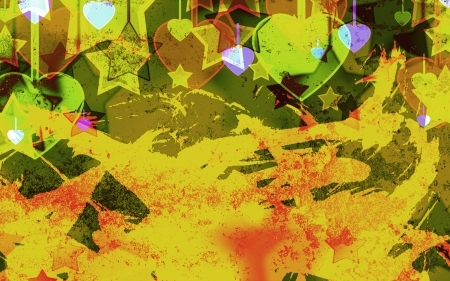 failures: abstract hearts and stars on the grunge military background Stock Photo