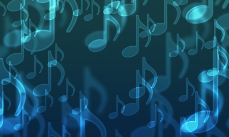 tarnished: lights in the form of musical symbols on a dark Stock Photo