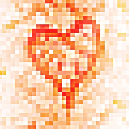 creative mosaic heart of squares, abstract background photo
