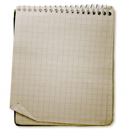 old used notebook on white background with clipping path Stock Photo - 16320322