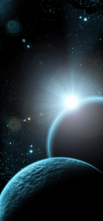 planet with sunrise on the background of stars and galaxies photo
