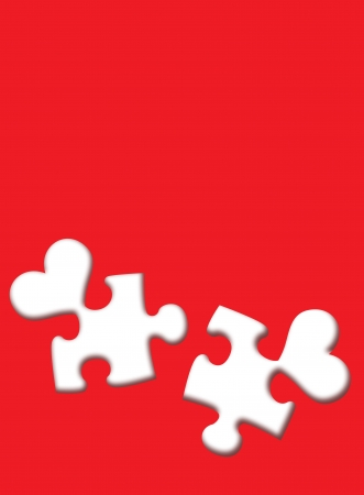 puzzles white hearts on a red background photo