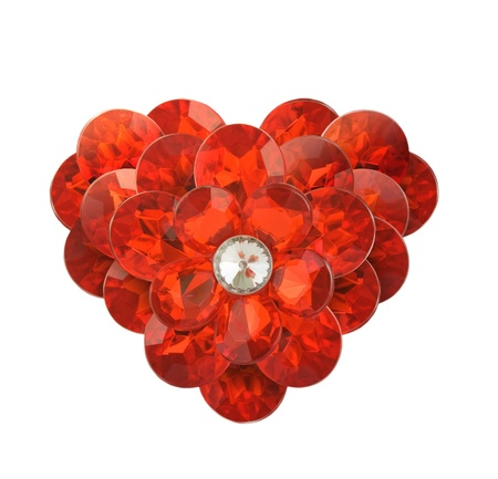 red diamond heart on a white background photo