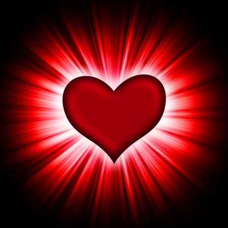 red heart with rays on a black background, abstract Stock Photo - 16320487