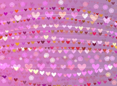 romantic background of stripes and hearts with flowers Stock Photo - 16319288