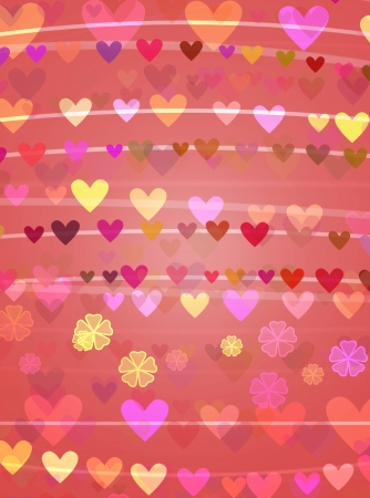 romantic background of stripes and hearts with flowers Stock Photo - 16318255
