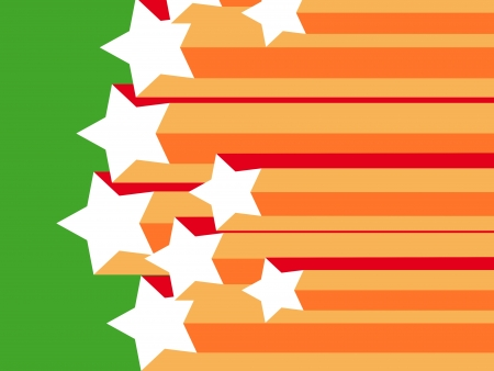 basic scheme:   stars and stripes, orange and red on a green background Stock Photo
