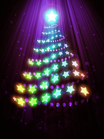 blurring:   Abstract christmas tree on a dark violet background