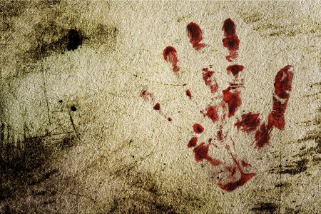 bloody hand print: Grunge background with a print of a bloody hand  Stock Photo