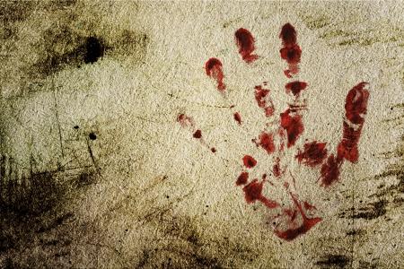 bloody hand print: Grunge fondo con una impresi�n de una mano sangrienta