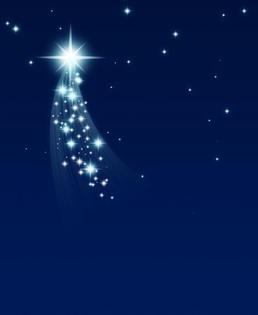 meteor shower: climbing star, on a dark starry background