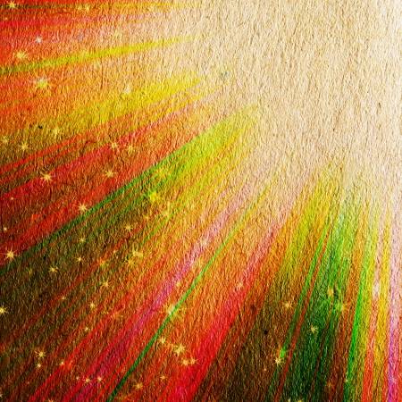 sun burnt: colored rays and stars on grunge paper Stock Photo