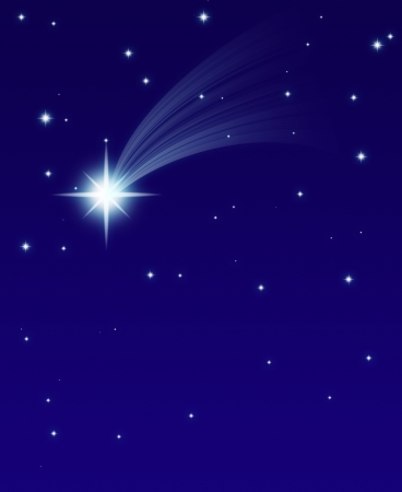 christmas star: falling star, on a dark starry background