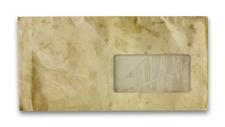Vintage grungy old envelope. Dirt, folds and creases, Isolated on white.