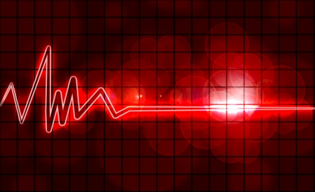 pulse: abstract heart monitor on a dark red background  Stock Photo