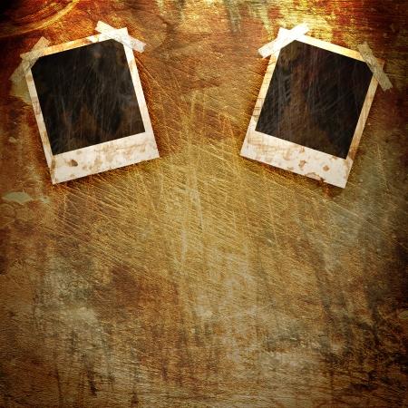 snapshots: old Polaroid frame on grunge background