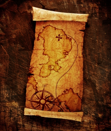 carte au trésor: vieille carte au trésor, sur le fond grunge