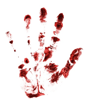 blood stain: red hand print on a white