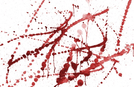 spots of red watercolor on an isolated white background