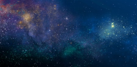 starry sky with the colors of the nebula Stock Photo