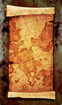 old world:    ancient scroll map, on grunge wall