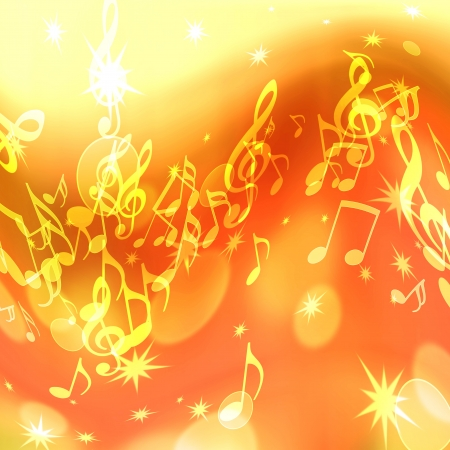 pc tune:  golden abstract background with music notes and stars