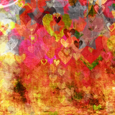 free image: abstract grunge background with hearts and stars  Stock Photo