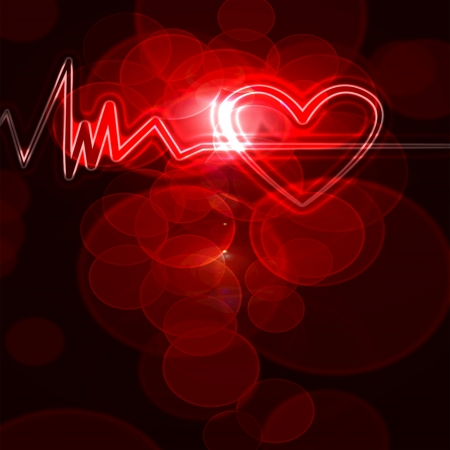 abstract heart monitor on a dark red background  photo