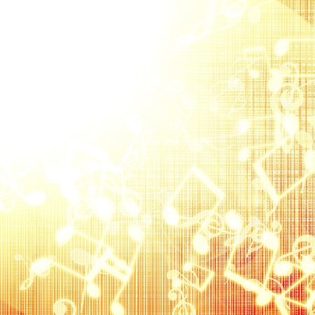 golden abstract background with music notes photo