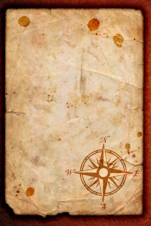 isla del tesoro: viejo mapa con una br�jula en �l Foto de archivo
