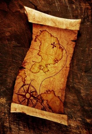 old treasure map,on grunge background  photo