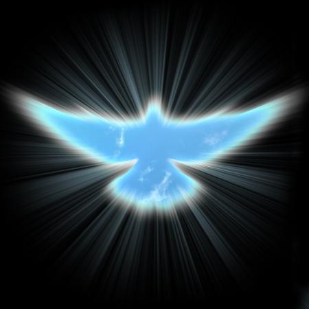 pfingsten: leuchtenden Taube mit Strahlen auf einem dunklen Hintergrund