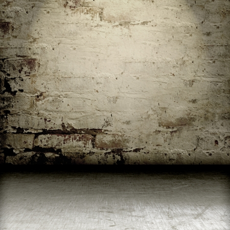 old wall and floor. There is an empty seat for design Stock Photo - 16341075