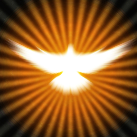 pentecost: shining dove with rays on a dark golden background